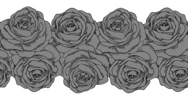 seamless horizontal frame element of gray roses with black outline