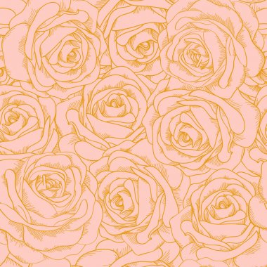 Beautiful seamless background of pink roses with a gold outline in vintage style