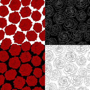 a set of seamless backgrounds. The outline of a rose, red, black and white colors.
