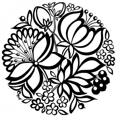 black-and-white floral arrangement in the shape of a circle