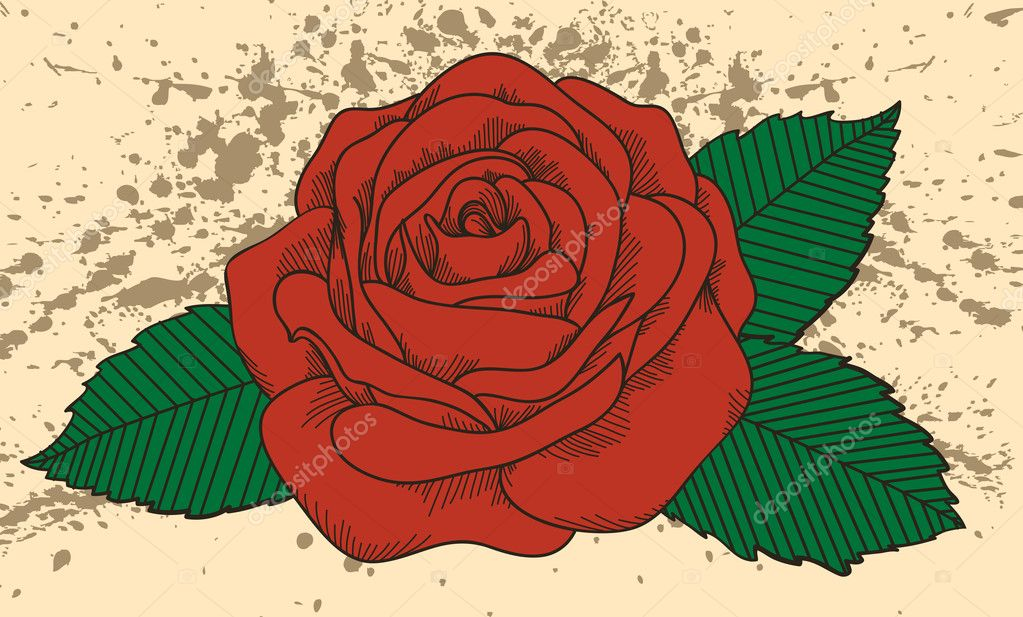 Rose tattoo on the old background with blots. In the old-style
