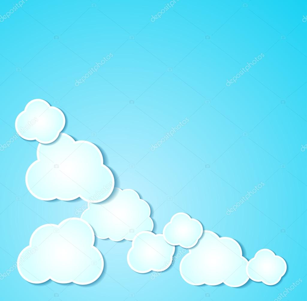 Paper clouds illustrated background on blue.