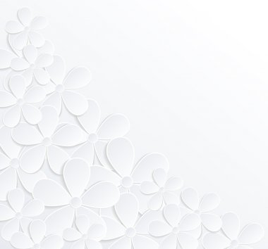 beautiful gray and white background with flowers made of paper with a place for text.