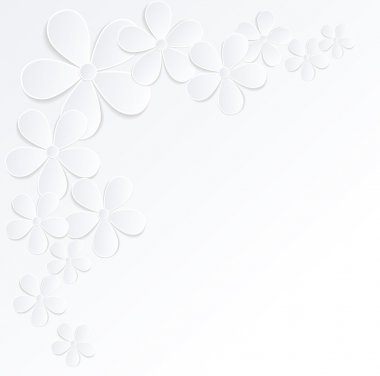beautiful gray and white background with flowers made of paper with a place for text. Many similarities to the author's profile.