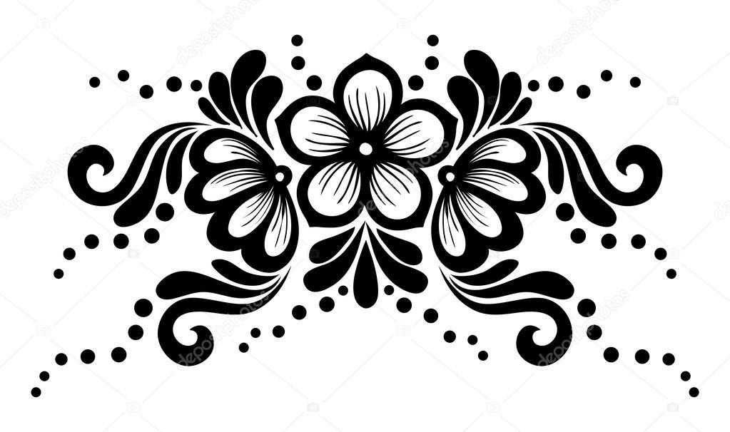 Черно белые цветы для дизайна