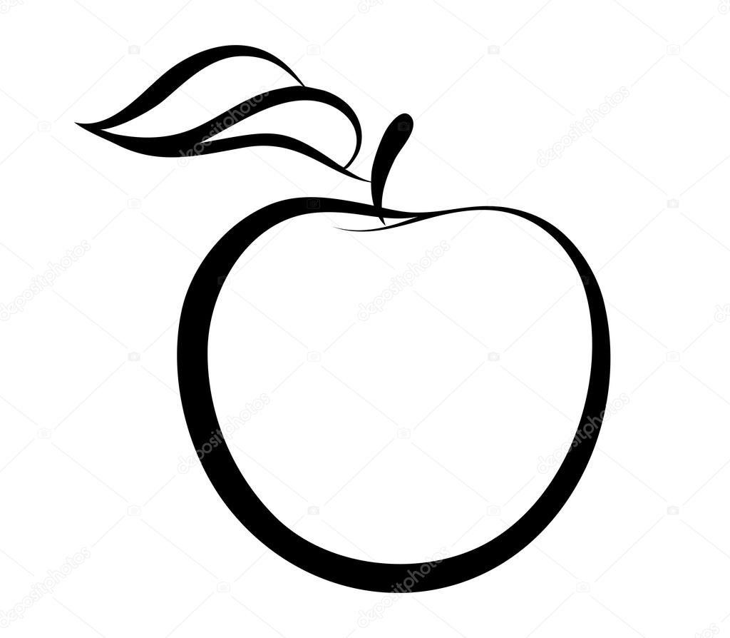 Vector monochrome illustration of apple logo.