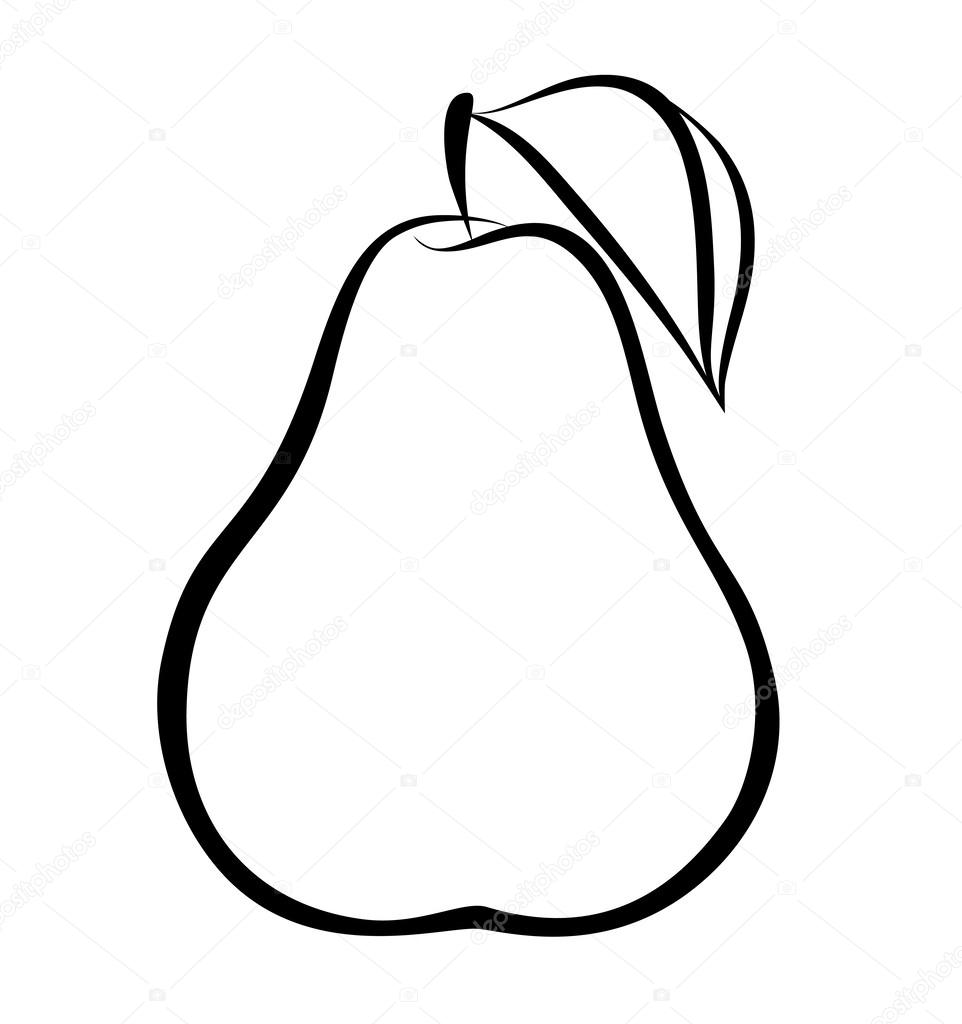 Vector monochrome illustration of pear logo.
