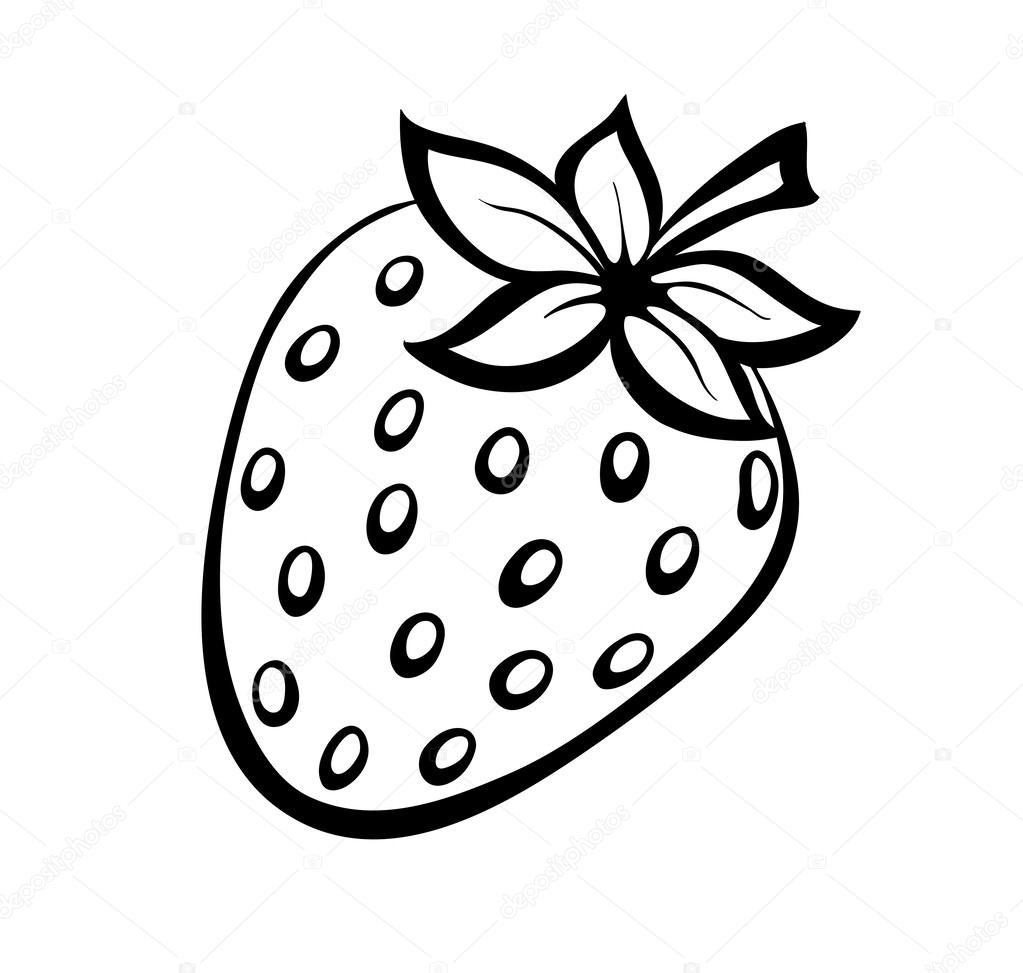 Vector monochrome illustration of strawberries logo.