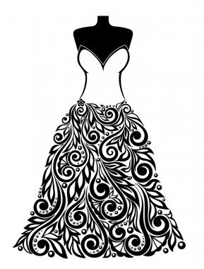 Silhouette of a beautiful dress with a floral element. Can be used for decoration of wedding cards.