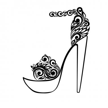 Beautiful sandals, decorated with black and white floral ornament
