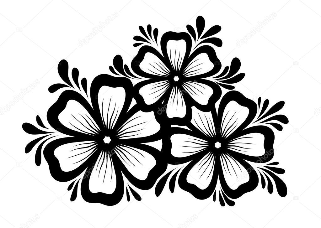 Precioso Elemento Floral Blanco Y Negro Elemento De Diseno De Hojas