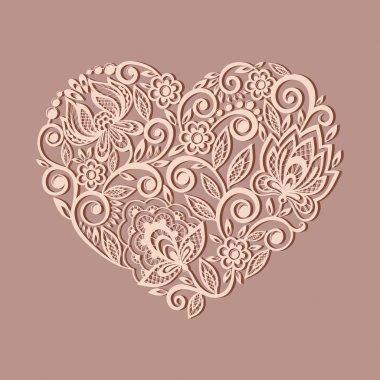 Silhouette of the heart symbol decorated with floral pattern, a design element in the old style. Many similarities to the author's profile clip art vector