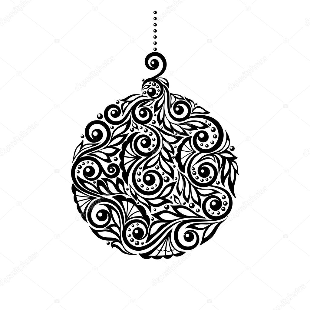 black and white christmas ball with a floral design stock vector jane hulinska 33925657. Black Bedroom Furniture Sets. Home Design Ideas