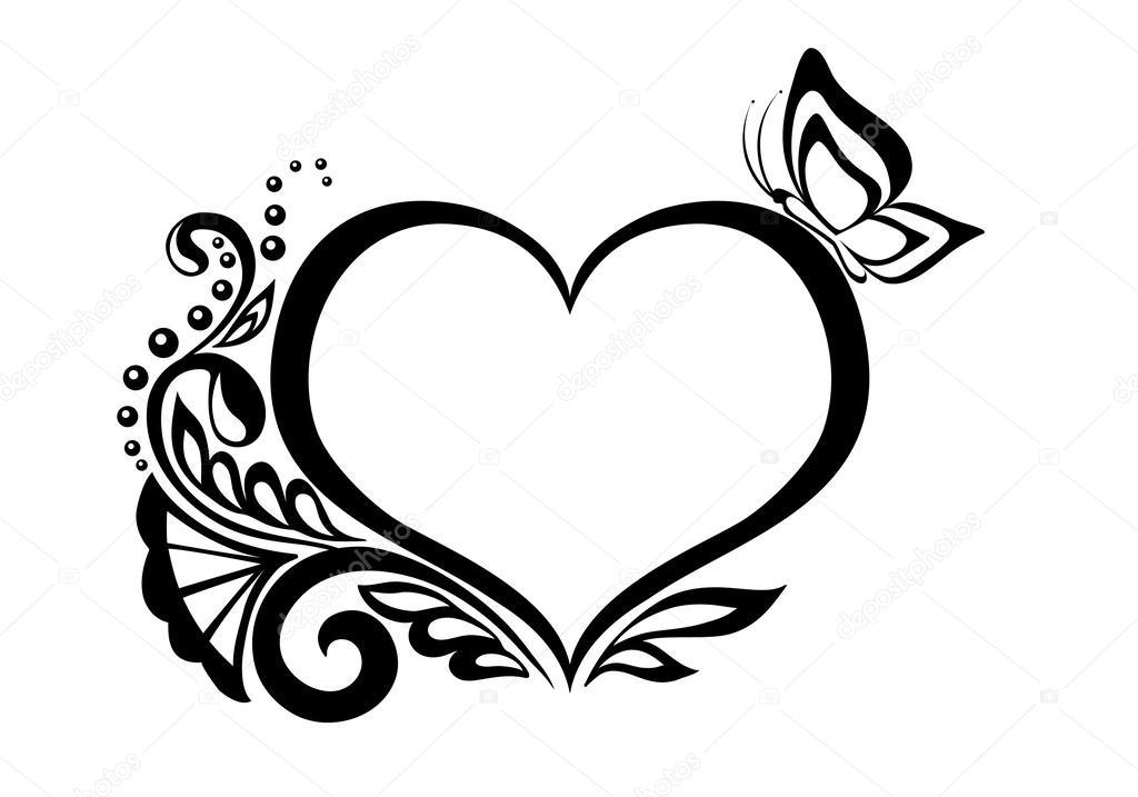 Symbole En Noir Et Blanc Dun Coeur Avec Dessin Floral Et Papillon