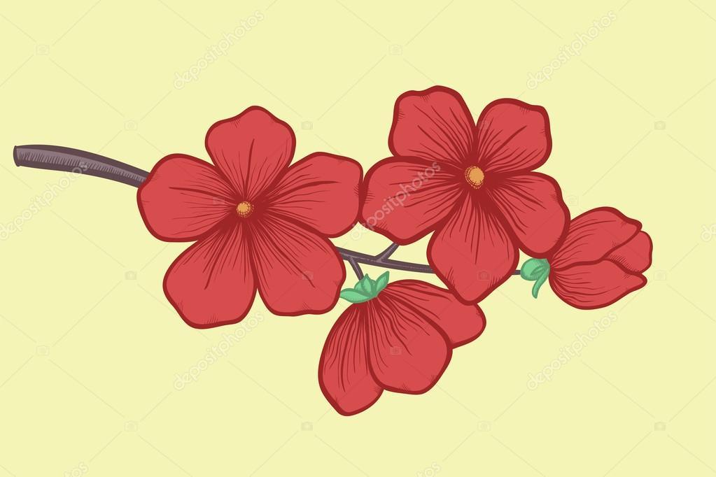 Flores En Dibujo A Color: árbol De Flores En Colores Pastel. Gráfico De Estilo De