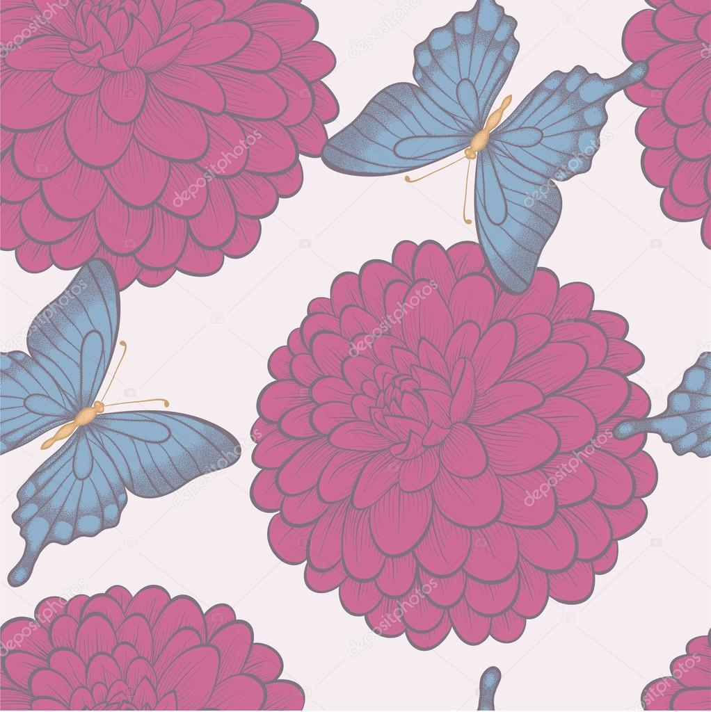 Seamless background with beautiful butterflies and flowers dahlias in vintage pastel colors.