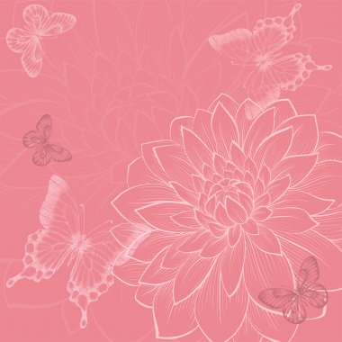 beautiful background with flowers and butterflies, hand-drawn in graphic style