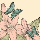 gyönyörű háttér egy kártya, pillangók, liliom, levelek és bimbó, egy kézzel rajzolt grafikus stílus vintage színek