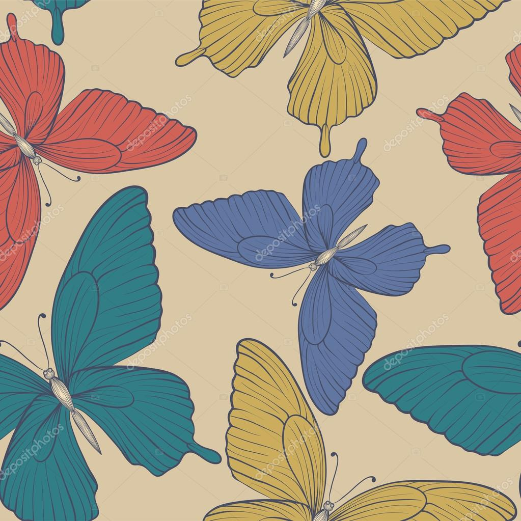 Beautiful seamless background with butterflies vintage color