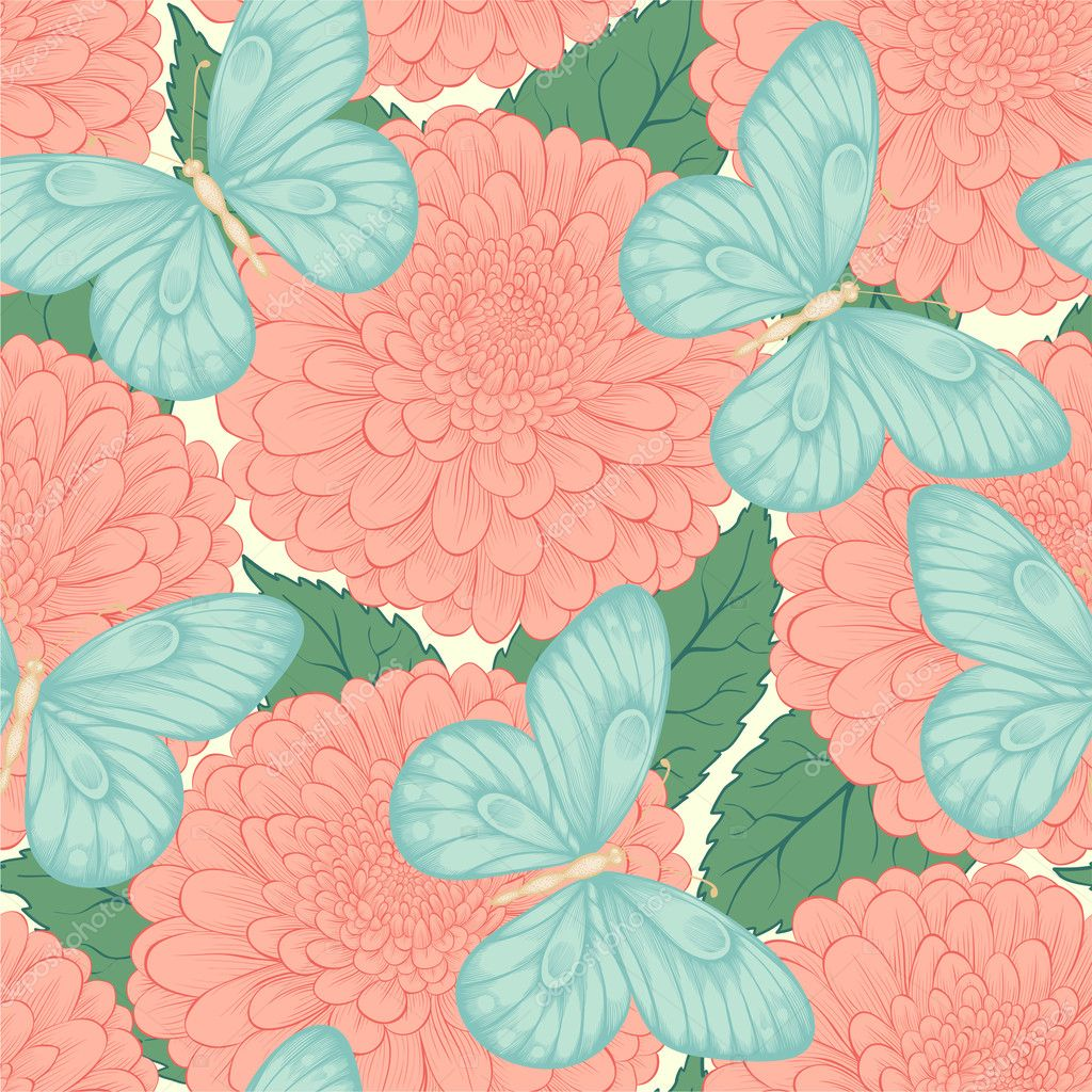 Beautiful seamless pattern with flowers chrysanthemums, leaves and butterflies