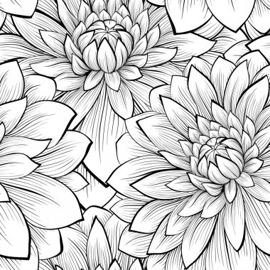 Beautiful seamless background with monochrome black and white flowers