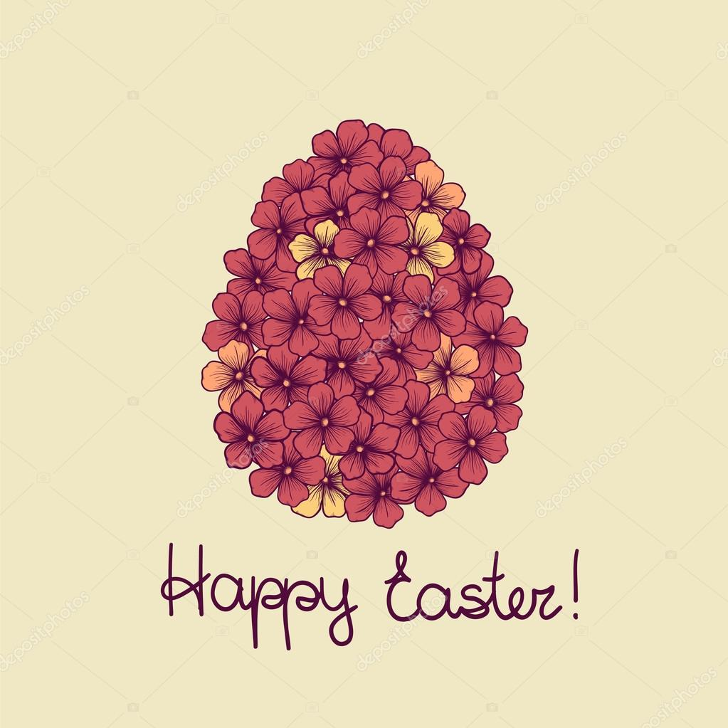 Beautiful Easter Greeting Card With Flowers Graphics In The Form Of