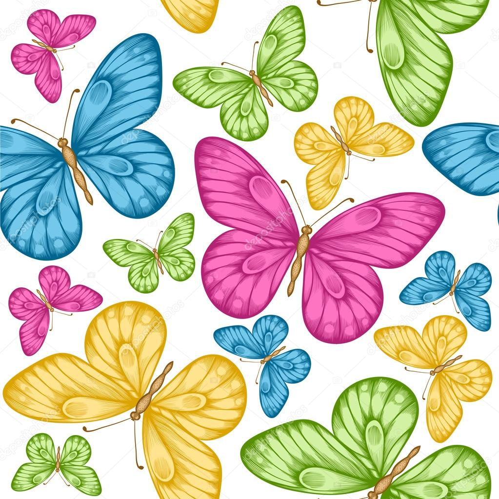 Beautiful seamless background with bright colorful butterflies
