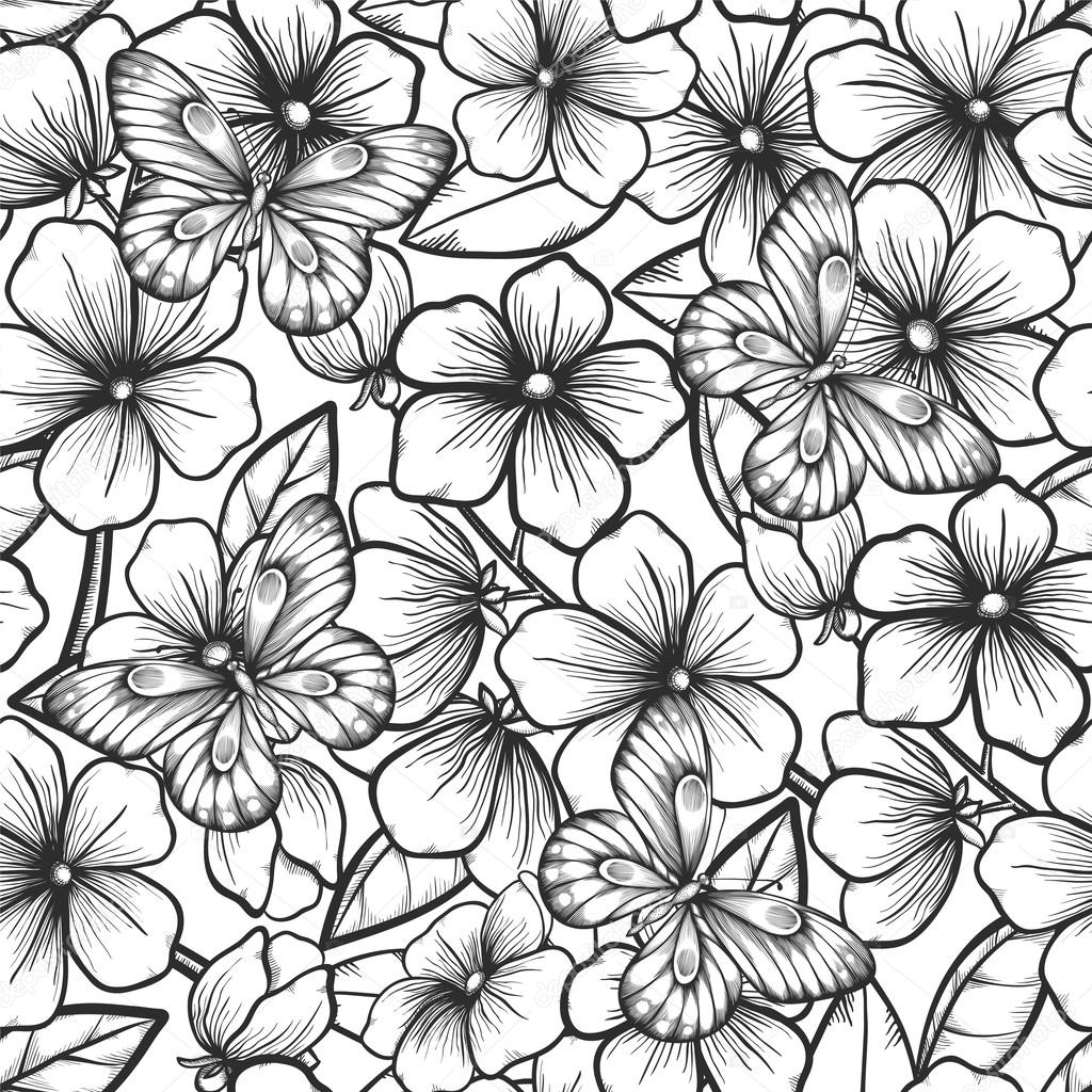 Beautiful black and white seamless background with branches of flowering trees and butterflies.