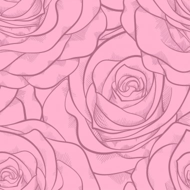 beautiful seamless pattern in pink roses with contours. Hand-drawn contour lines and strokes. Perfect for background greeting cards and invitations to the day of the wedding, birthday, Valentine's Day