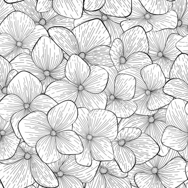 seamless pattern with monochrome, black and white flowers