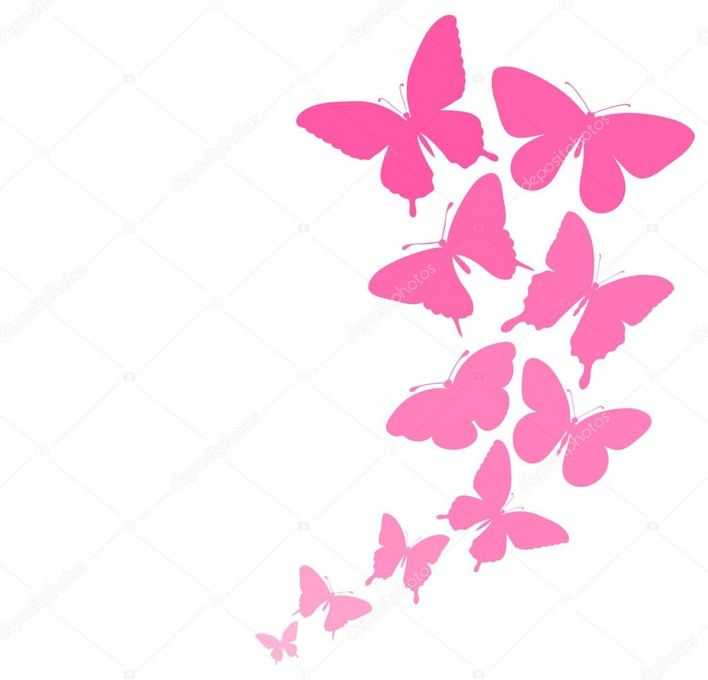 background with a border of butterflies flying. — Stock Vector ...