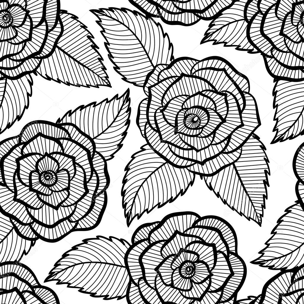 seamless black and white pattern in roses and leaves lace.
