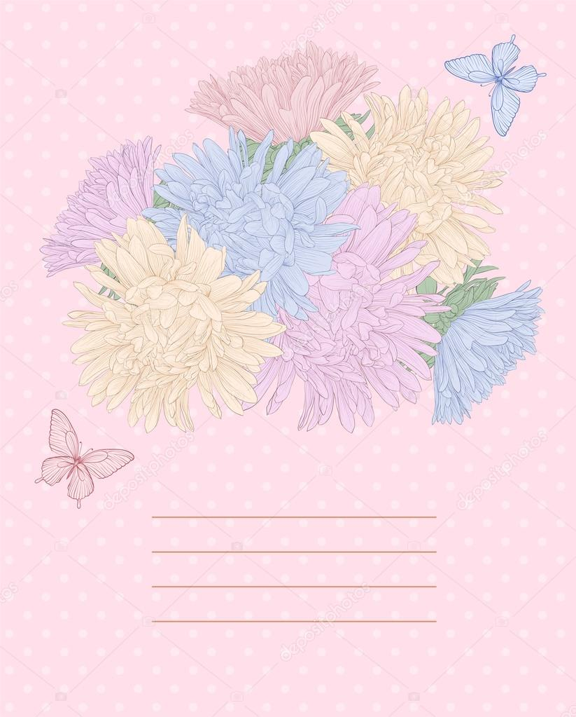 Beautiful background with bouquet flowers and butterflies.