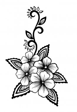 Beautiful floral element. Black-and-white flowers and leaves design element. Floral design element in retro style. clip art vector