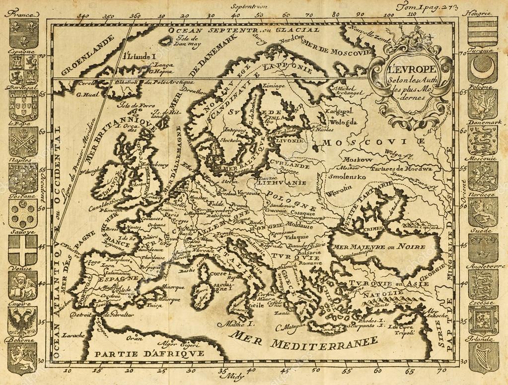 mapa antiguo de Europa — Fotos de Stock © marzolino #12223567