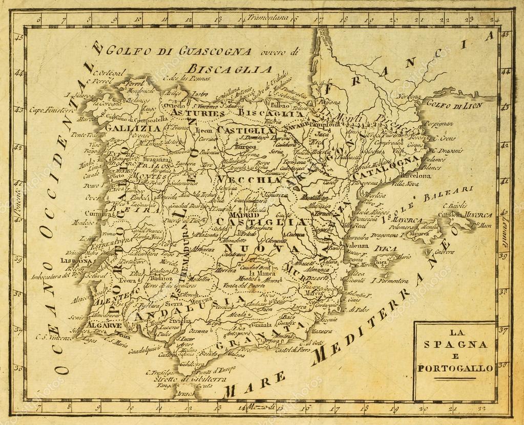 Karta Italien Spanien.Spanien Och Portugal Gamla Karta Stockfotografi C Marzolino 12225397