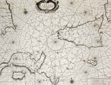 Old maritime map of North Africa coast and South Mediterranean