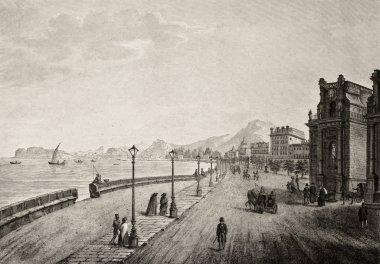 Palermo, Italy, promenade antique illustration