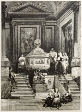 Old illustration of the Baptismal font in Palermo cathedral