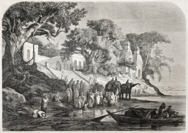 Old illustration of traditional Ganges ablutions in India. Created by Anastasi after sketch of De Berard, published on L'Illustration, Journal Universel, Paris, 1857 stock vector