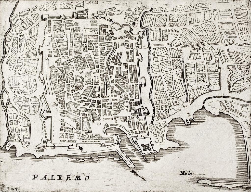 Gammal Karta Italien.Gammal Karta Over Palermo Italien Stockfotografi C Marzolino
