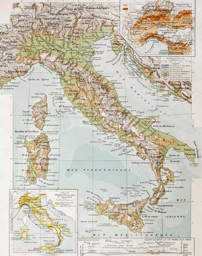 Italy Physical Map Stock Photo Marzolino - Physical map of italy
