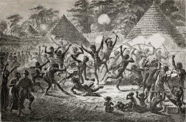 Old illustration of famous explorer James Augustus Grant taking part in a tribal dance in Ugandan village Created by Fuchs, published on Le Tour du Monde, Paris, 1864 stock vector
