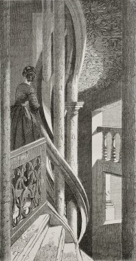Old illustration of Fuchs house staircase, St. Giles square, Nuremberg, Germany. Created by Thérond, was published on Le Tour du Monde, Paris, 1864 stock vector