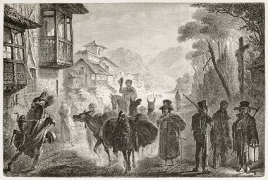 Along the street in Quito, Ecuador, old illustration. Created by Fuchs after Charton, published on Le Tour du Monde, Paris, 1867 stock vector
