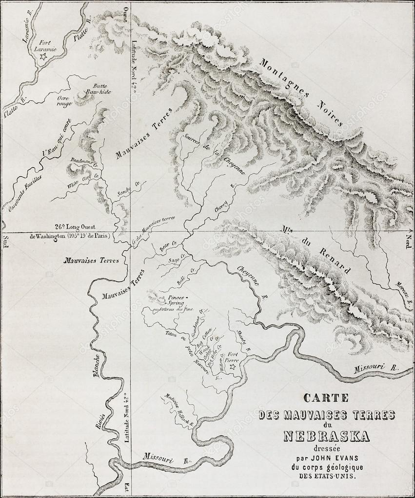 Badlands Nebraska Map.Nebraska Badlands Map Stock Photo C Marzolino 13331301