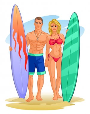 illustration of a couple of surfers with a surf boards