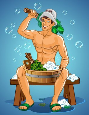 Vector illustration of man sitting in a steam bath