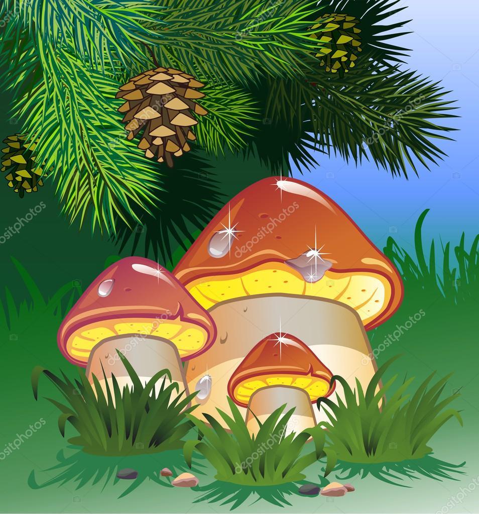 Картинки елочка грибочек