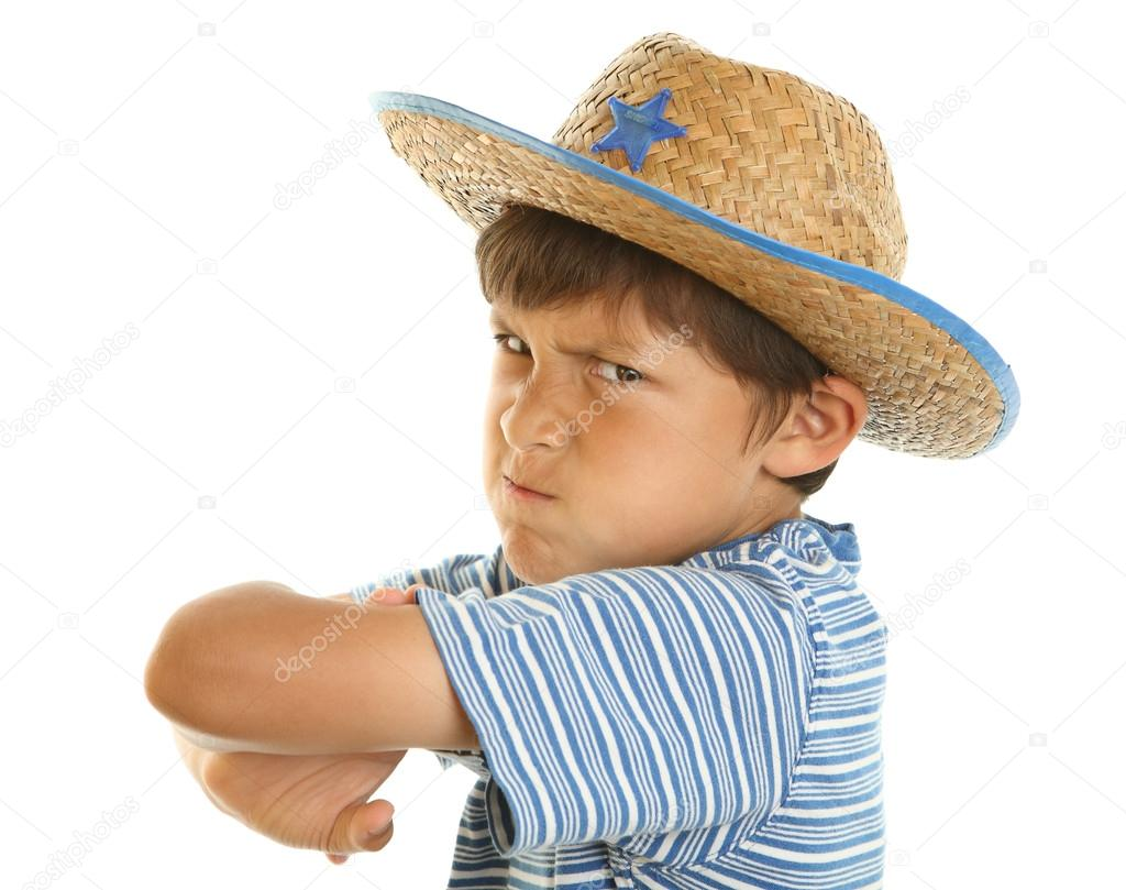 85b3360ee5099 Young mad boy in cowboy hat — Stock Photo © dmediapro  12170733
